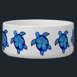 """Blue Honu Turtle and Hibiscus Bowl<br><div class=""""desc"""">The Hawaiian Sea Turtle is a symbol of peace, good luck, and the spirit within. It is based on the Hawaiian legend of Kauila, a sea turtle that could change into a girl and watch over the children of Hawaii. This is honu design with a hibiscus flower shell in ocean...</div>"""
