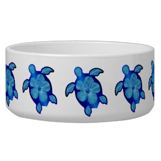 Blue Honu Turtle and Hibiscus Bowl