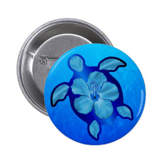 Blue Honu Turtle and Hibiscus Pinback Button