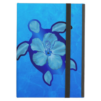 Blue Honu Turtle and Hibiscus Case For iPad Air