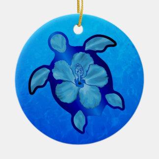 Blue Honu Turtle and Hibiscus Ceramic Ornament