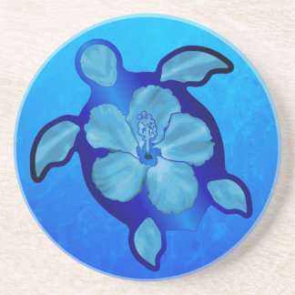 Blue Honu Turtle and Hibiscus Drink Coaster