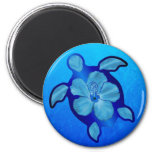 Blue Honu Turtle and Hibiscus Fridge Magnets