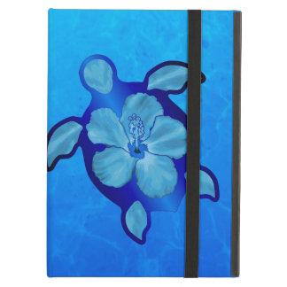 Blue Honu Turtle and Hibiscus iPad Folio Cases