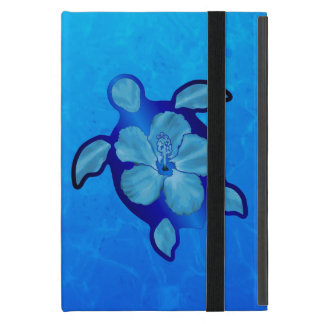 Blue Honu Turtle and Hibiscus iPad Mini Cover
