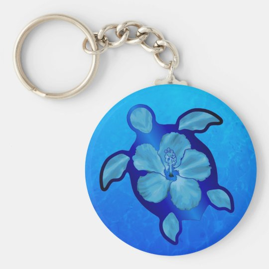 Blue Honu Turtle and Hibiscus Keychain
