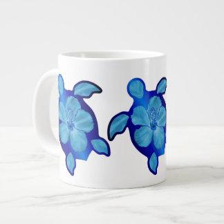 Blue Honu Turtle and Hibiscus Large Coffee Mug