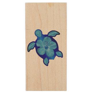 Blue Honu Turtle and Hibiscus Wood USB 2.0 Flash Drive