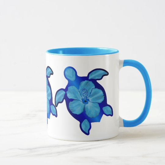 Blue Honu Turtle and Hibiscus Mug
