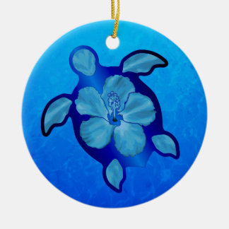 Blue Honu Turtle and Hibiscus Christmas Tree Ornaments