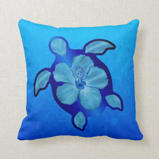 Blue Honu Turtle and Hibiscus Pillow