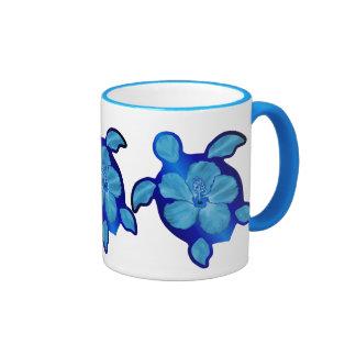 Blue Honu Turtle and Hibiscus Ringer Coffee Mug
