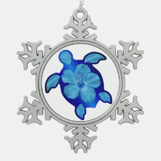 Blue Honu Turtle and Hibiscus Snowflake Pewter Christmas Ornament