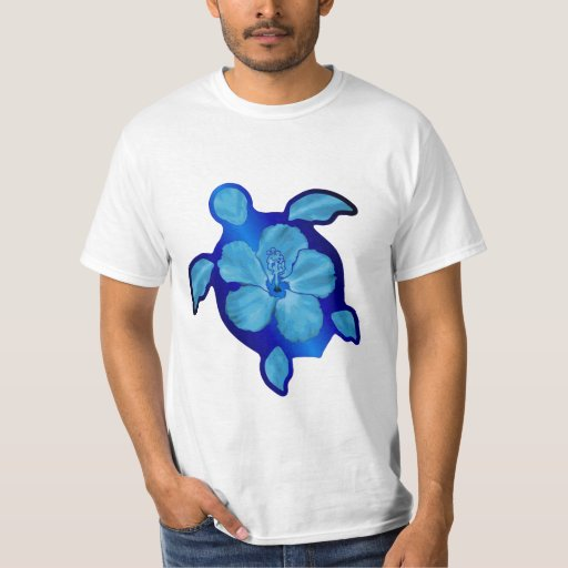 Blue Honu Turtle and Hibiscus Tee Shirt
