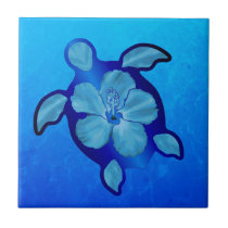 Blue Honu Turtle and Hibiscus Tile