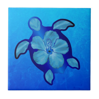 Blue Honu Turtle and Hibiscus Small Square Tile