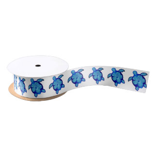 Blue Honu Turtle and Hibiscus Satin Ribbon
