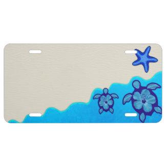 Blue Honu Turtles License Plate