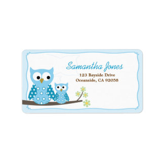 Blue Hoot Owls Baby Shower Address Label