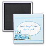 BLUE HOOT OWLS Baby Shower Favor Magnet