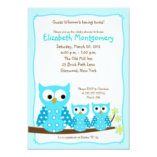 BLUE HOOT OWLS TWINS 5x7 Baby Shower Invitation