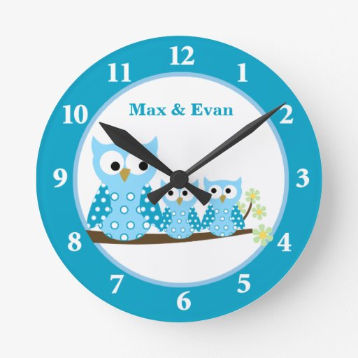 Blue Hoot Owls Wall Clock