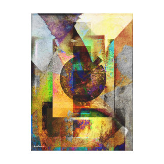 Blue Hope Geometric Industrial Grunge Art 7 Canvas Print