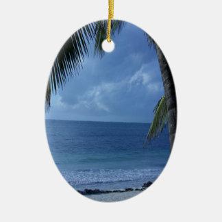 Blue Horizon Beach Ceramic Ornament