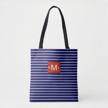 Beach Themed Blue Horizontal Stripes Red Monogram Template Tote Bag
