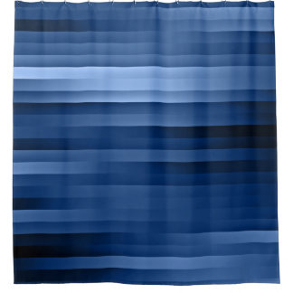 Blue Horizontal Stripes Shower Curtain