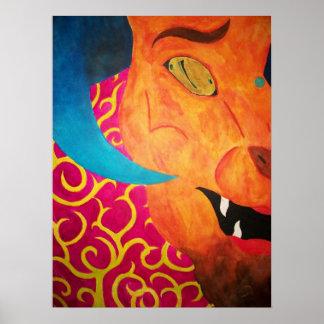 Blue Horned Beast Print