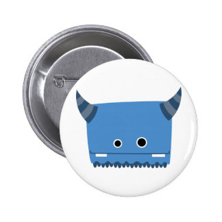 Blue Horned Monster 2 Inch Round Button