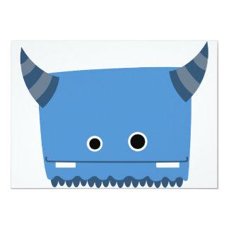 Blue Horned Monster Invitation