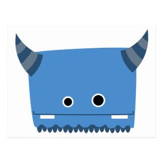 Blue Horned Monster Postcard