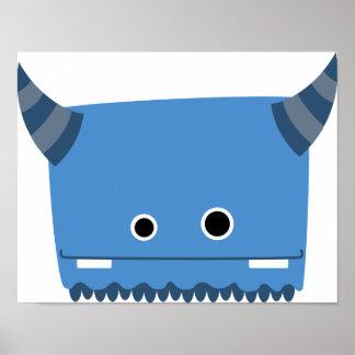 Blue Horned Monster Poster