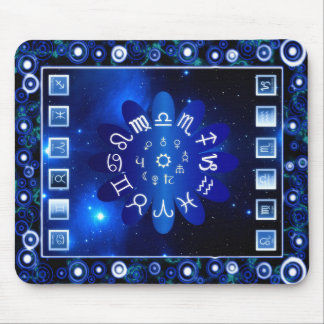 Blue Horoscopes Astrology Art Mouse Pad