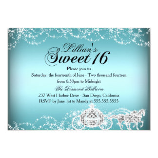 Blue Horse & Carriage Princess Sweet 16 Invite