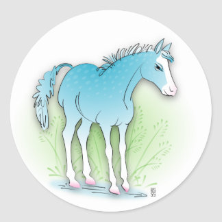 blue horse classic round sticker