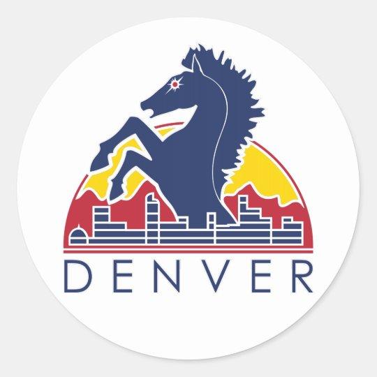 Blue Horse Denver Logo Classic Round Sticker