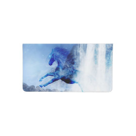 Blue horse in a waterfall checkbook cover