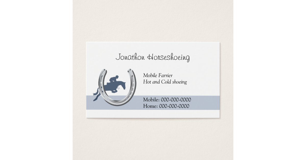 Blue horse jumping through a horseshoe business card | Zazzle.com