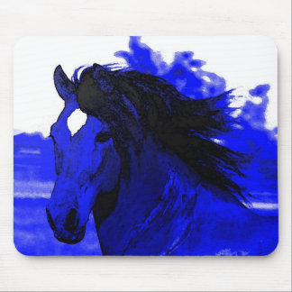 Blue Horse Mouse Pad