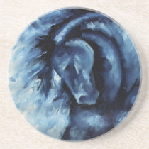 Blue Horse Oil Painting Drink Coaster