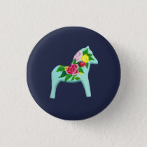 Blue Horse Pinback Button