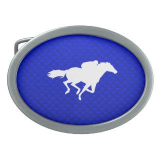 Blue Horse Racing Belt Buckles