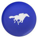Blue Horse Racing Dinner Plate
