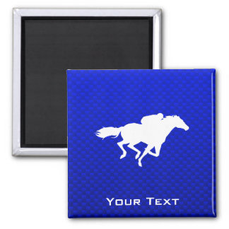 Blue Horse Racing 2 Inch Square Magnet