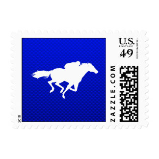 Blue Horse Racing Postage Stamps