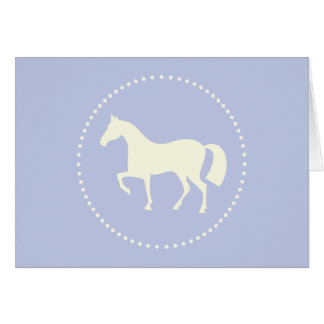 Blue horse silhouette greeting card (horizontal)