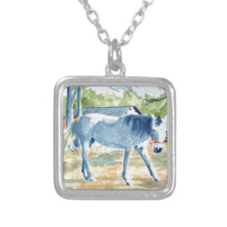 Blue Horse Silver Plated Necklace